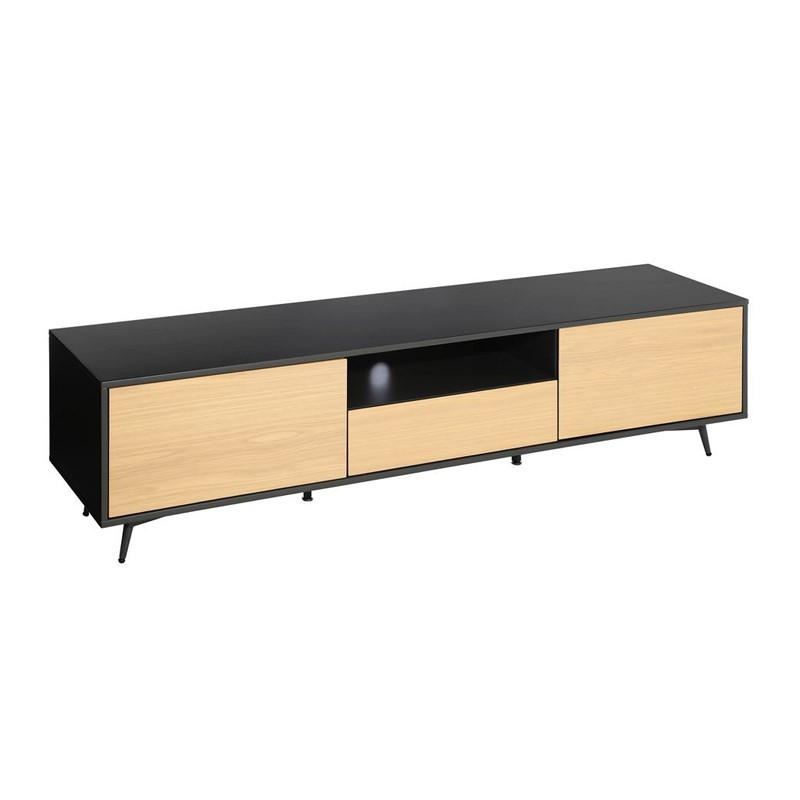 Meuble TV 2 portes 1 tiroir scandinave bois naturel métal - Univers Salon : Tousmesmeubles