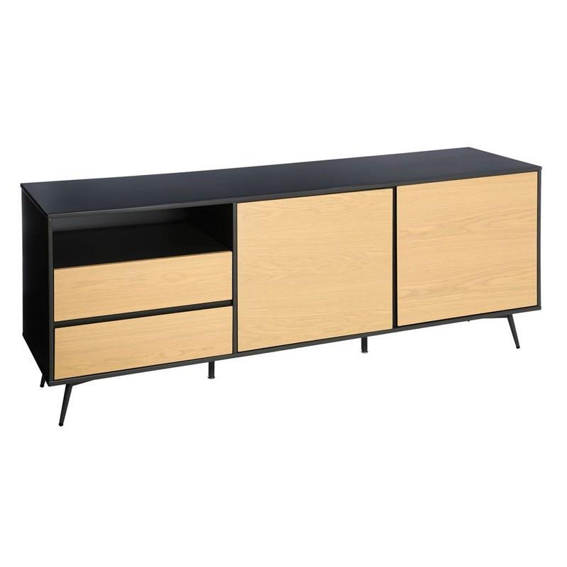 Buffet 2 portes 2 tiroirs scandinave bois naturel métal - Univers Salle à Manger : Tousmesmeubles