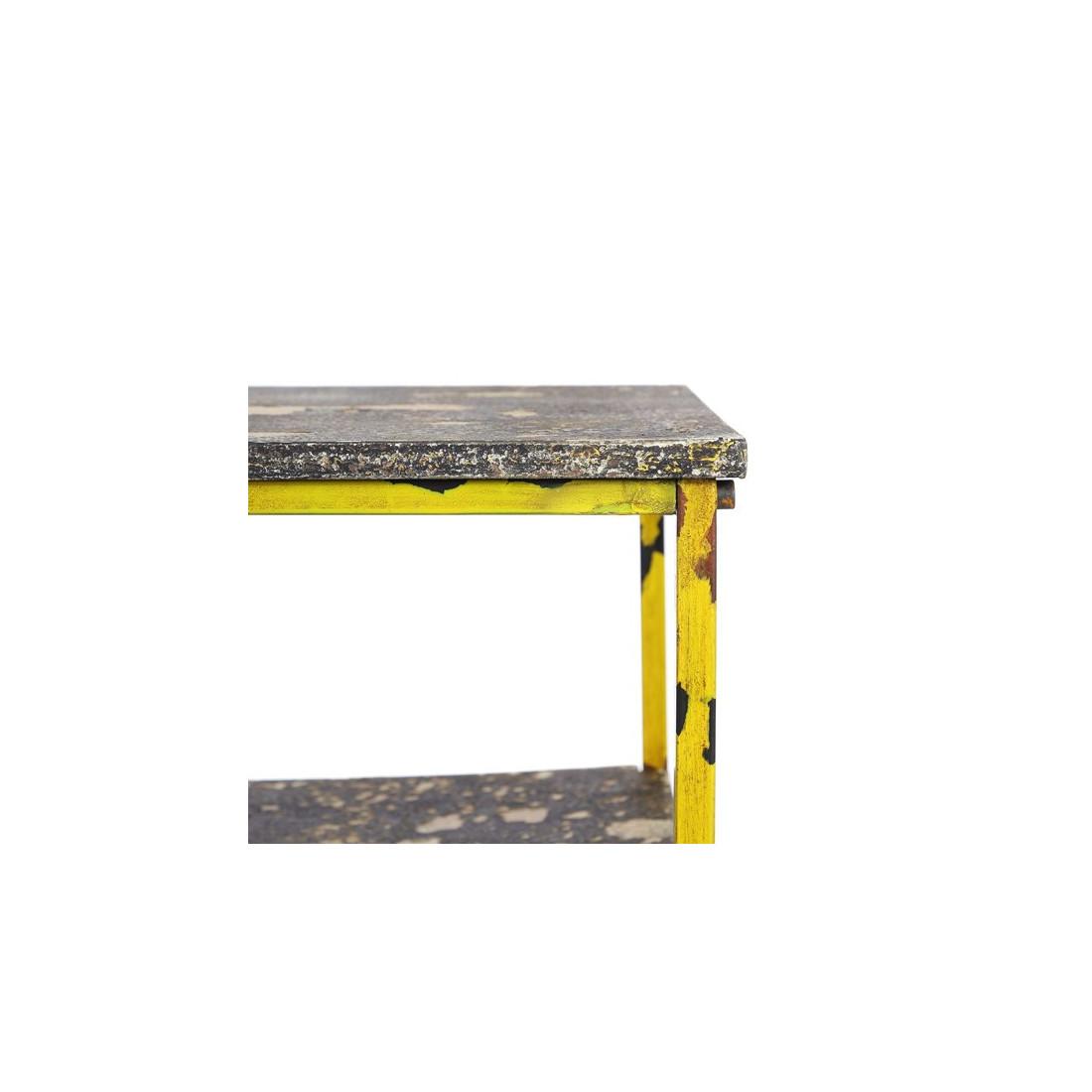 table basse m tal jaune et aspect pierre brutus univers du salon. Black Bedroom Furniture Sets. Home Design Ideas