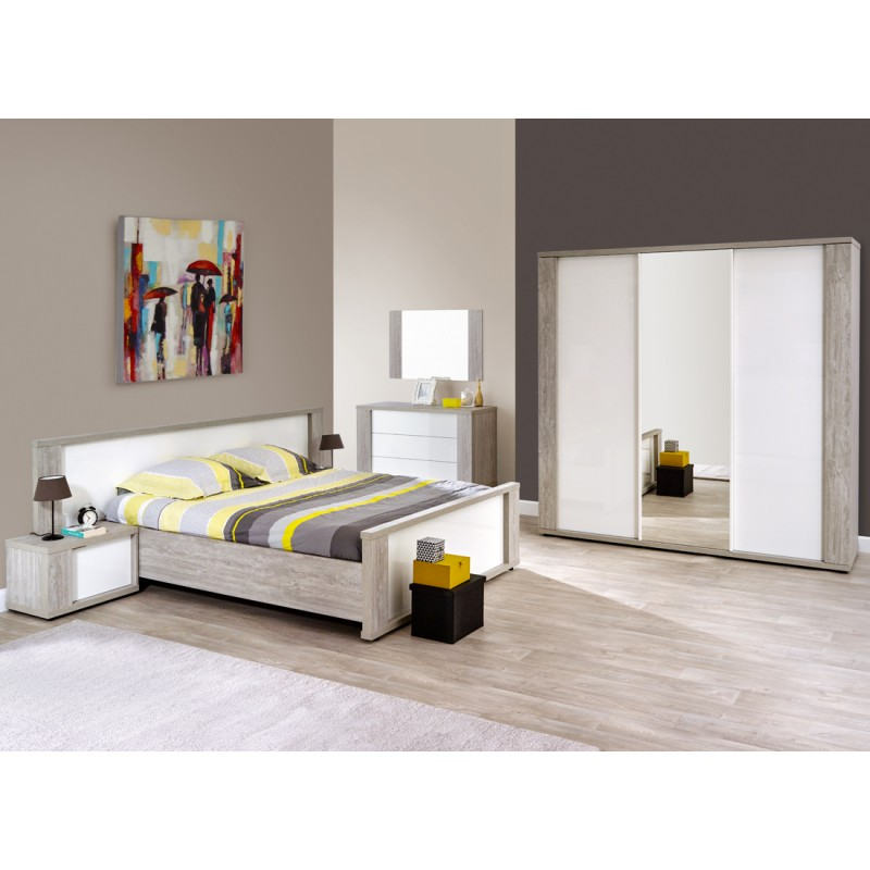 cadre t te de lit chevets 160 200 cm watson univers. Black Bedroom Furniture Sets. Home Design Ideas