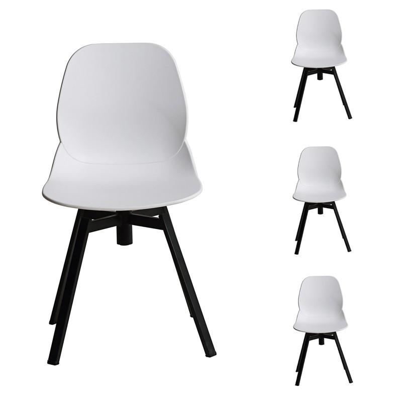 Quatuor de chaises blanc et noir - DIXON