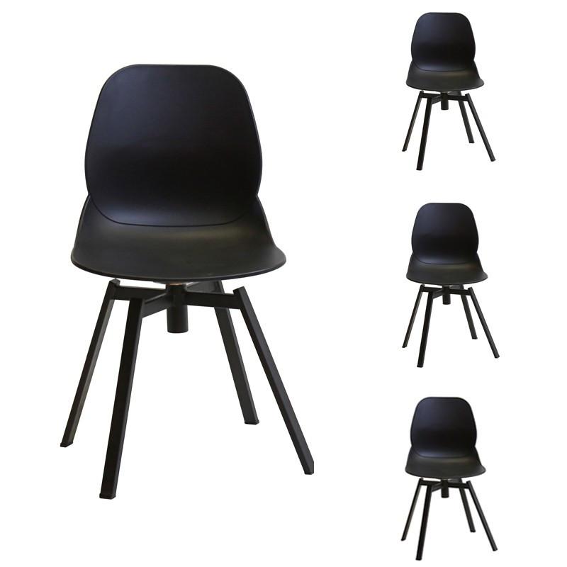 Quatuor de chaises noires - DIXON