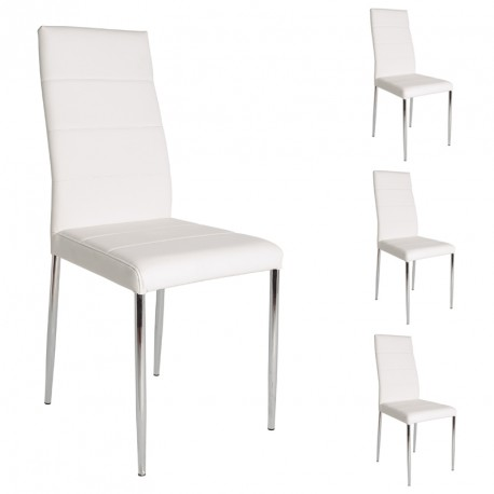 Quatuor de chaises blanches alta univers assises for Chaises contemporaines blanches