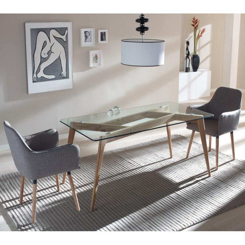 Table en verre et bois - SAMBA