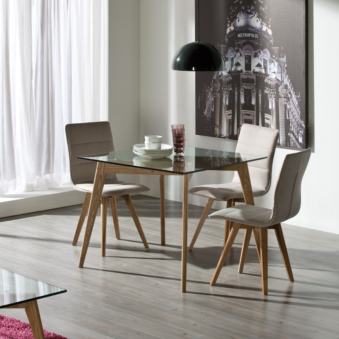 table carr e verre et bois fr ne samba univers de la salle manger. Black Bedroom Furniture Sets. Home Design Ideas