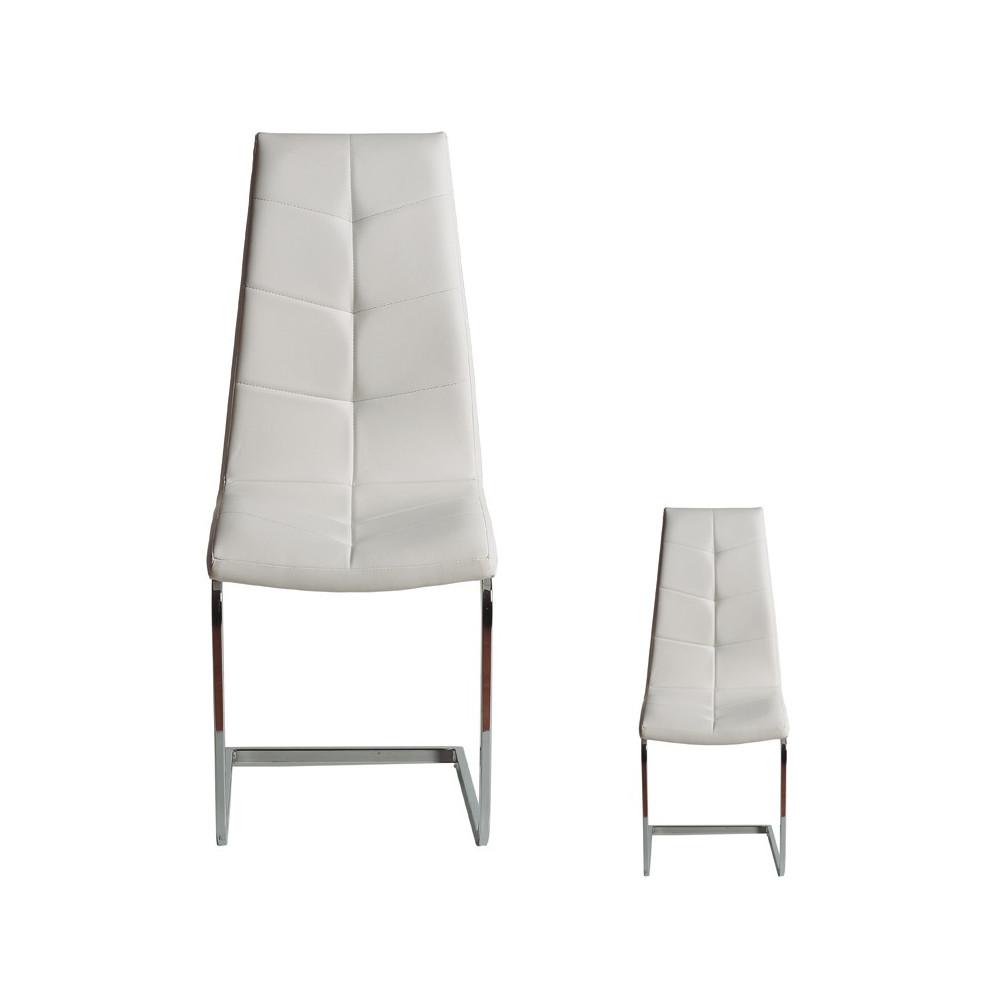 Duo de chaises Simili cuir Blanc - SPARTACUS