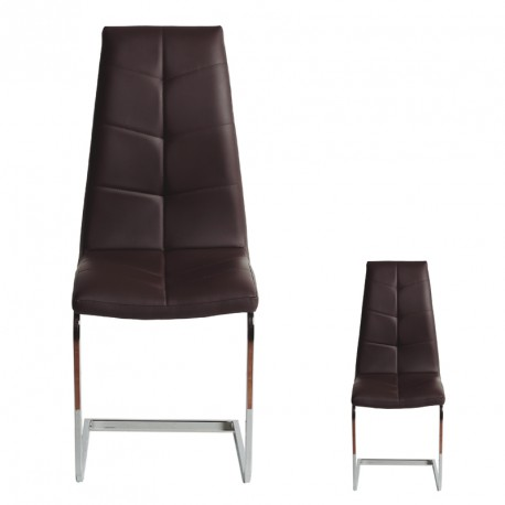 Duo de chaises simili cuir marron spartacus tousmesmeubles for Chaises simili cuir marron