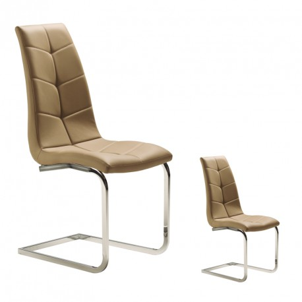 Duo de chaises Simili cuir Taupe - SPARTACUS