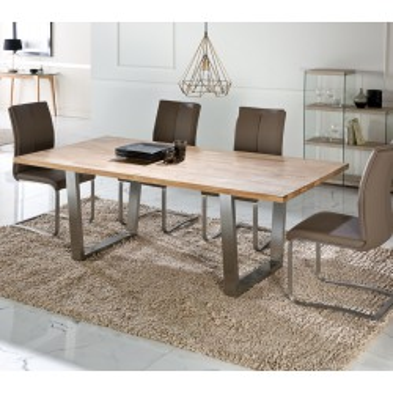 Table de repas bois et inox - STEPH