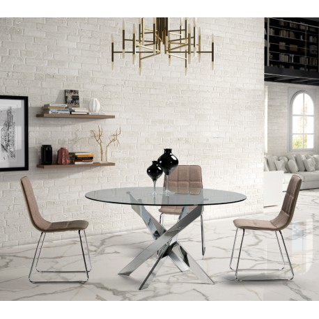 table repas ronde m tal chrom 140 cm faxou univers salle manger. Black Bedroom Furniture Sets. Home Design Ideas