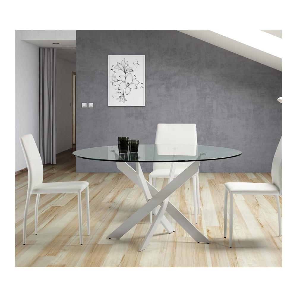 Table de repas ronde Blanc 120 cm - FAXOU