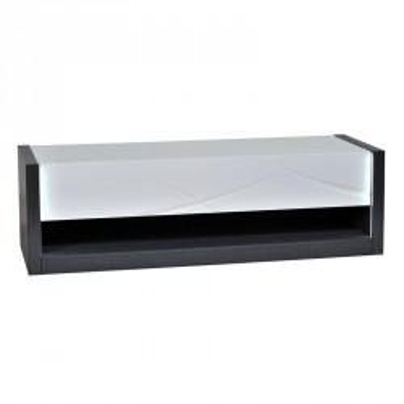 Meuble TV 1 tiroir à LEDs boie laqué blanc brillant - Univers Salon : Tousmesmeubles