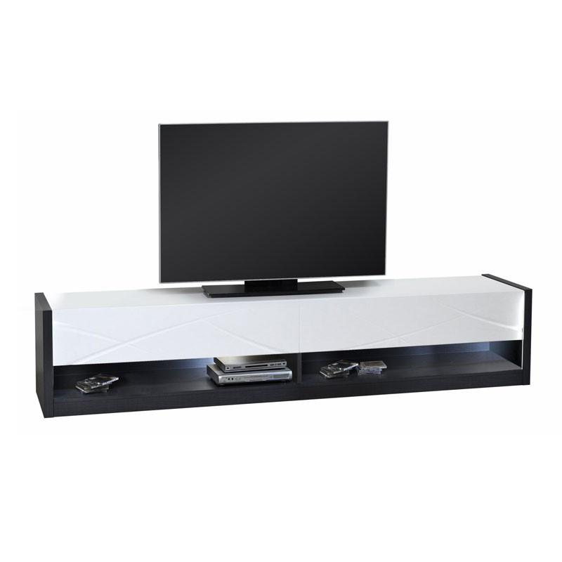 Meuble TV 2 tiroirs à LEDs bois laqué blanc brillant - Univers Salon : Tousmesmeubles