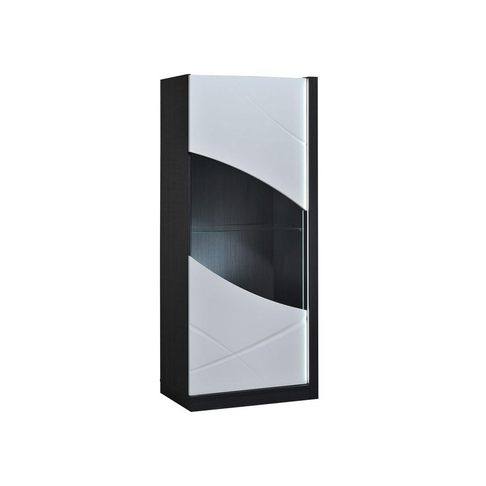 Vitrine 1 porte à LEDs bois laque blanc brillant - Univers Salon et Salle à Manger : Tousmesmeubles