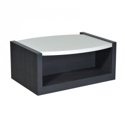 Table basse bois gris et laque blanche brillante - Univers Salon : Tousmesmeubles
