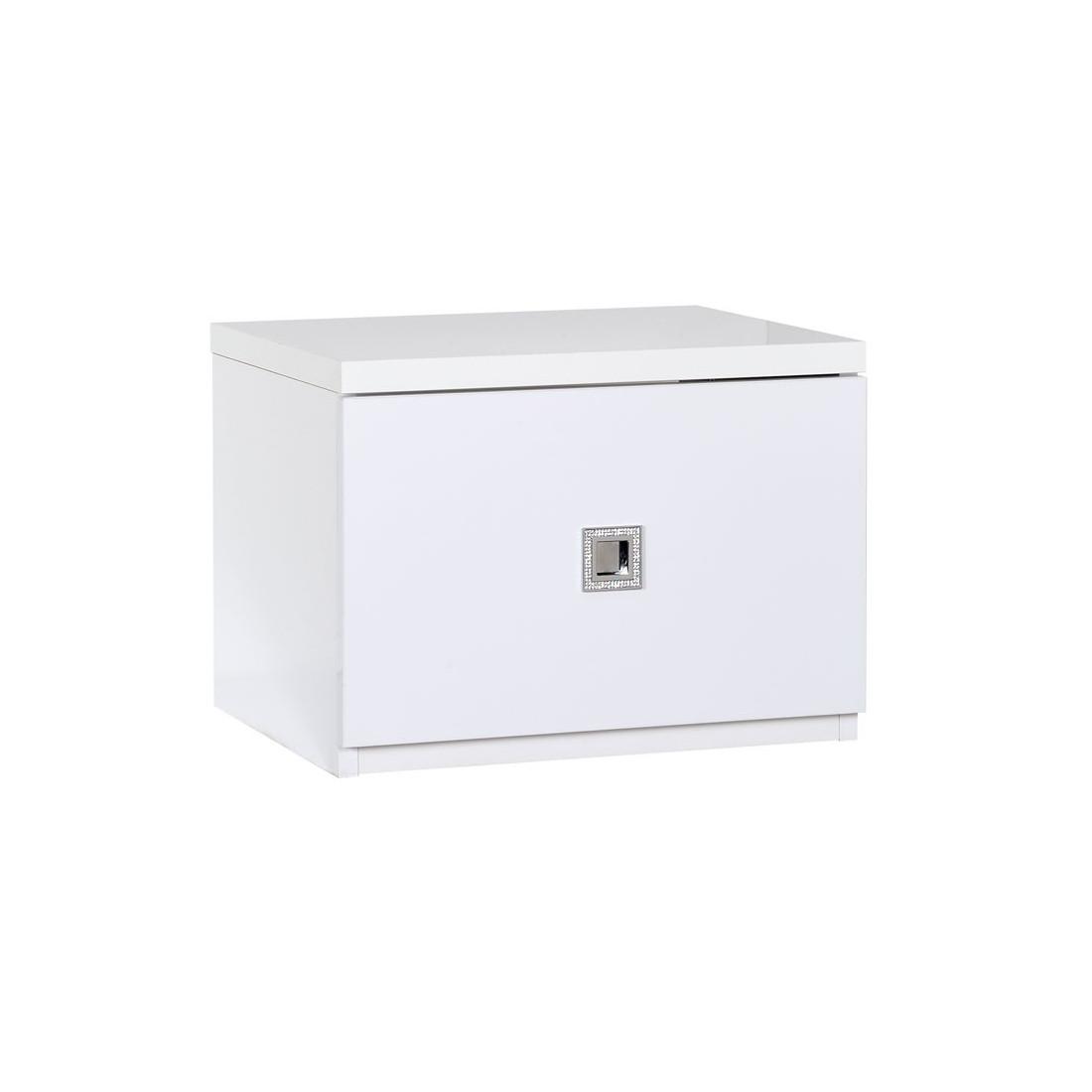 table de chevet 1 tiroir bois blanc laqu brillant univers chambre tousmesmeubles - Table De Chevet Laque Blanc Brillant