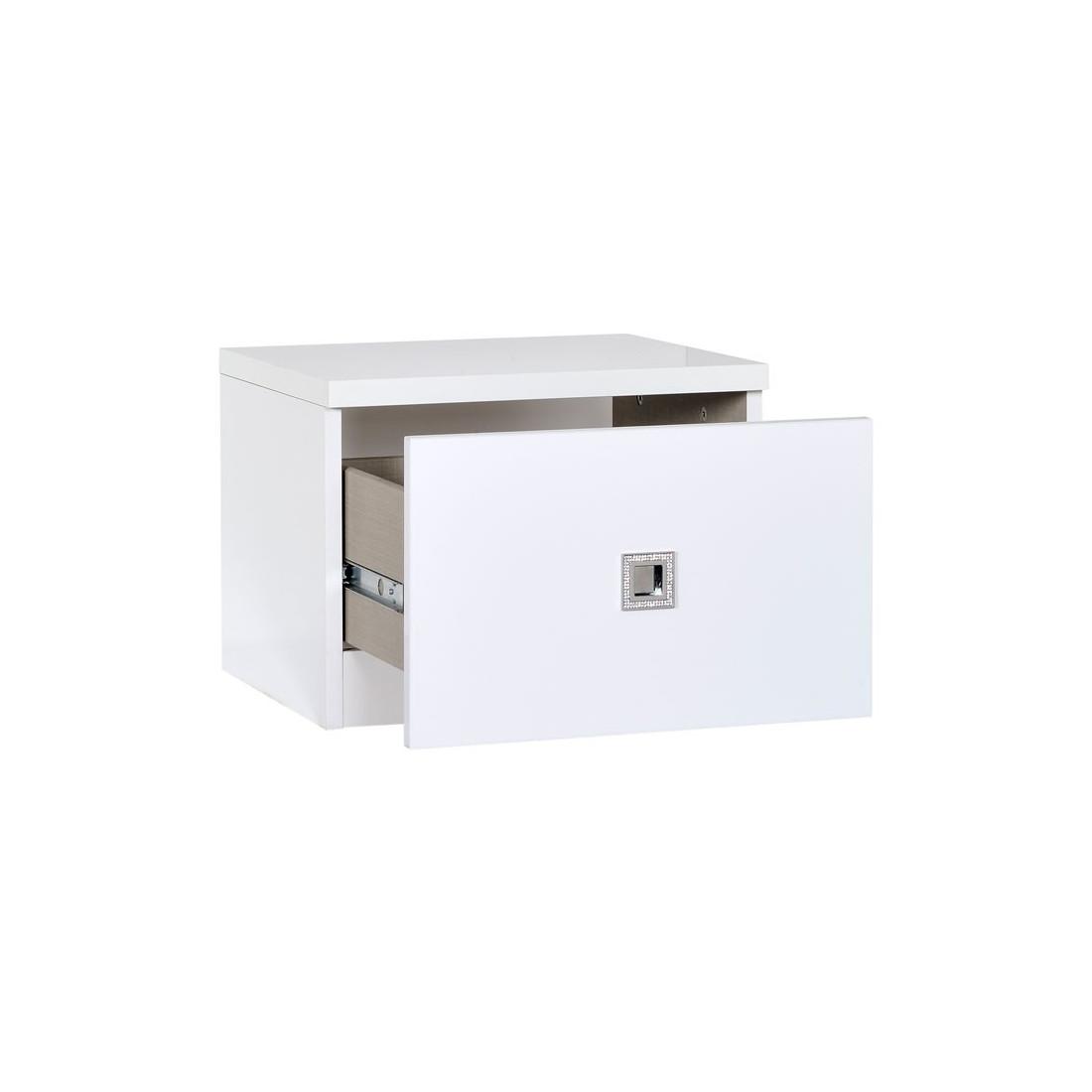 Table de chevet 1 tiroir poign e strass glass univers de for Table de chevet laque blanc brillant