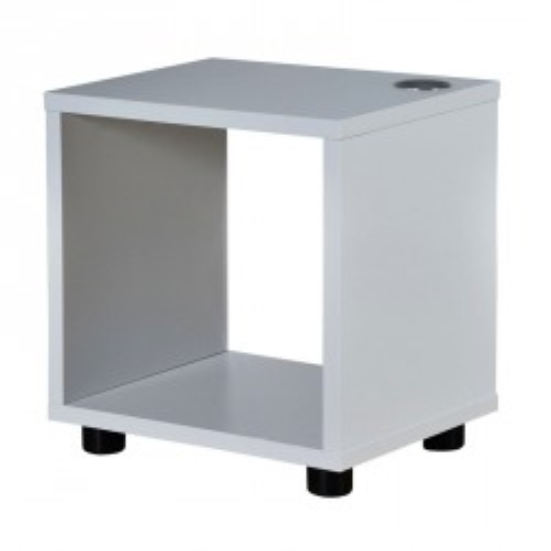 Table de chevet avec chargeur bois laque blanc brillant - Univers Chambre : Tousmesmeubles