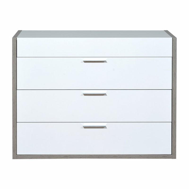 Commode 3 tiroirs 1 tirette bois laqué blanc brillant - Univers Chambre : Tousmesmeubles