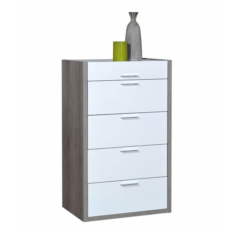 Semainier 4 tiroirs 1 abattant bois laque blanc brillant - Univers Chambre et Petits Meubles - Tousmesmeubles