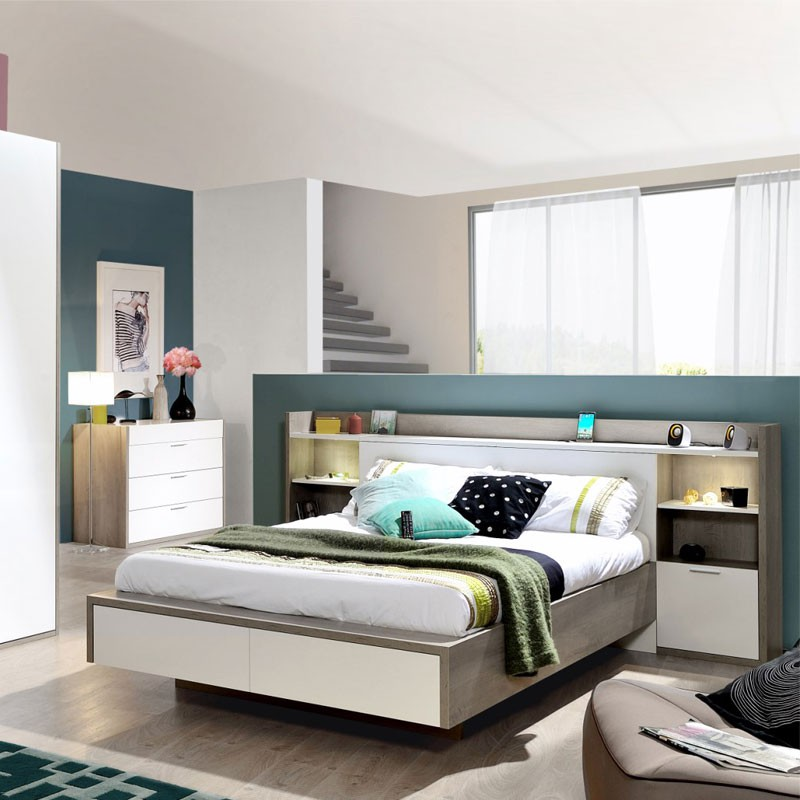 t te de lit am nag e avec chevets 140 cm gataca univers chambre. Black Bedroom Furniture Sets. Home Design Ideas