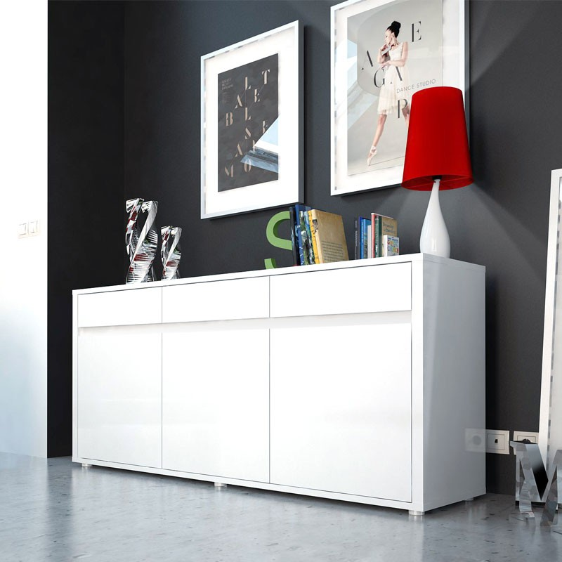 buffet blanc brillant 3 portes 3 tiroirs abana univers salle manger. Black Bedroom Furniture Sets. Home Design Ideas