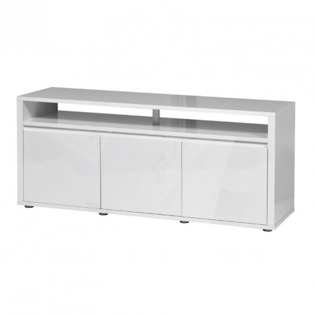Meuble tv moderne blanc brillant 3 portes abana univers for Meuble 3 portes moderna