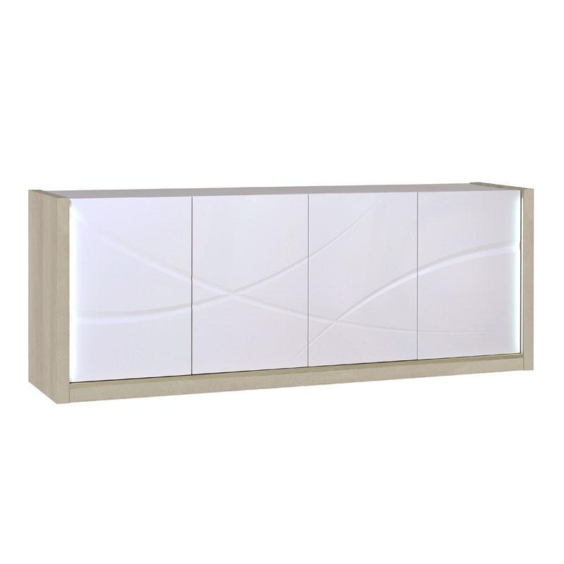 Buffet 4 portes à LEDs bois clair et laqué blanc brillant - Univers Salle à Manger : Tousmesmeubles