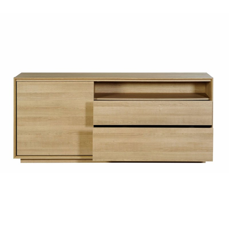 Buffet 1 Porte Coulissante 2 Tiroirs N 1 Wooden Univers