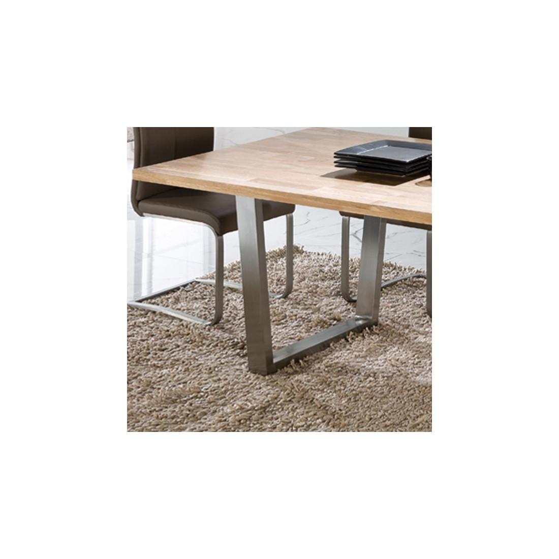 table de repas ch ne massif et inox steph univers salle manger. Black Bedroom Furniture Sets. Home Design Ideas
