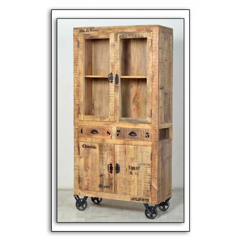 vitrine 4 portes 2 tiroirs sur roulettes grocery univers salle a manger. Black Bedroom Furniture Sets. Home Design Ideas