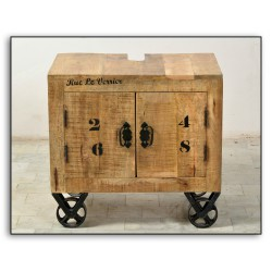 Table de chevet 2 portes sur roulettes - GROCERY