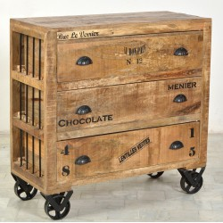 Commode 3 tiroirs sur roulettes - GROCERY