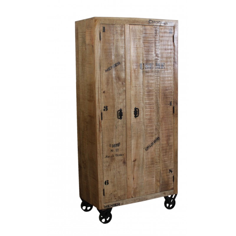armoire 2 portes sur roulettes grocery univers chambre. Black Bedroom Furniture Sets. Home Design Ideas