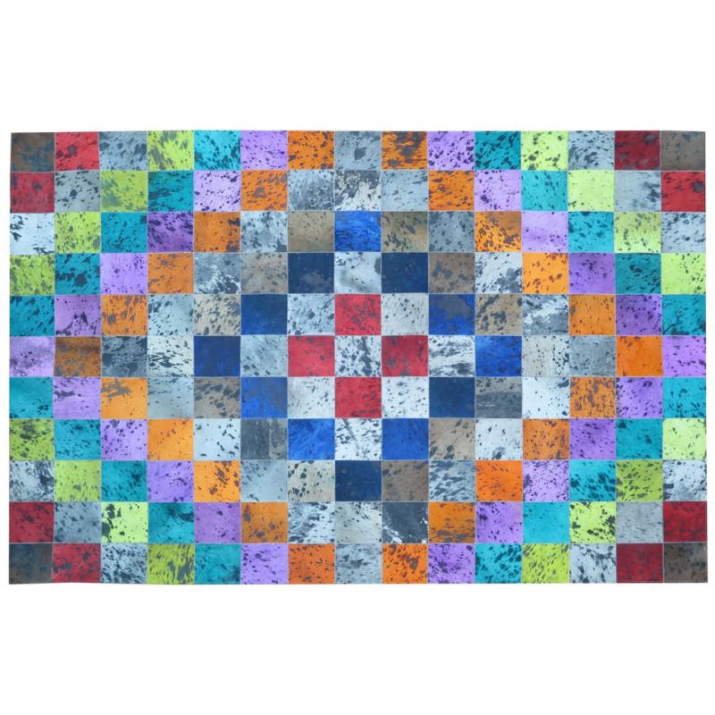 Tapis peau de vache patchwork multicolore 170x240 - MEUH
