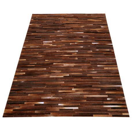 tapis peau de vache patchwork bandes marron 170x240 meuh univers decoration. Black Bedroom Furniture Sets. Home Design Ideas