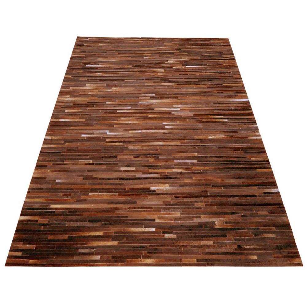 tapis peau de vache patchwork bandes marron 200x300 meuh. Black Bedroom Furniture Sets. Home Design Ideas