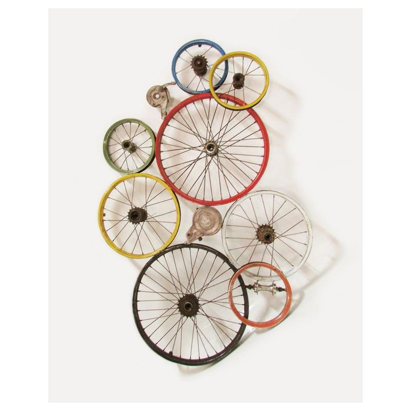 Décoration murale réalisée en jantes de vélo recyclées 80x120 cm - CYCLO