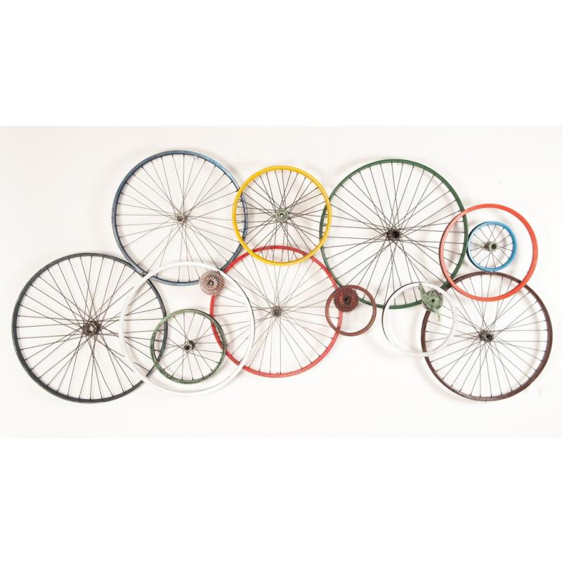 Décoration murale réalisée en jantes de vélo recyclées 100x200 cm - CYCLO