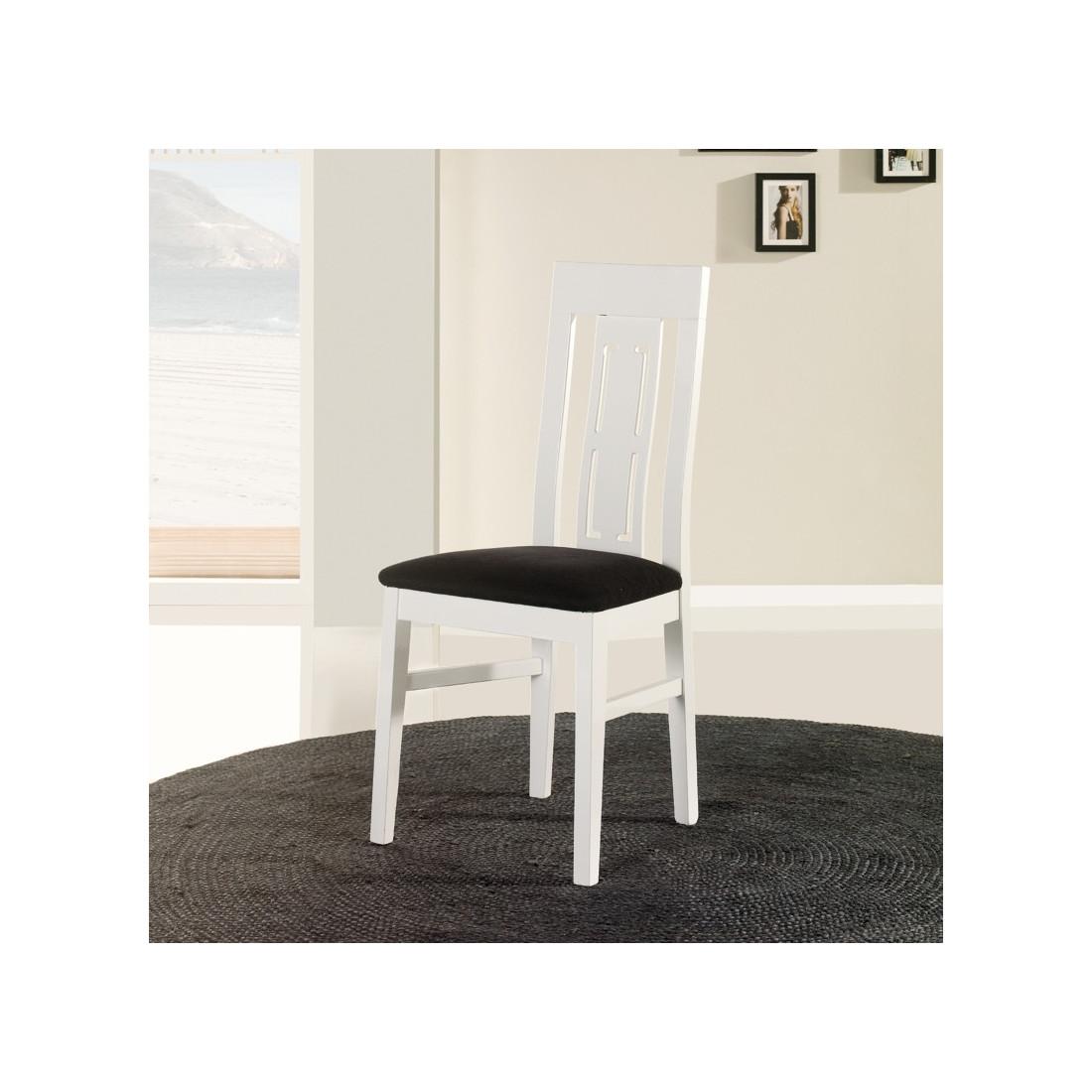 Chaise blanche assise microfibre n 1 mercure univers salle manger - Chaises en bois blanc ...