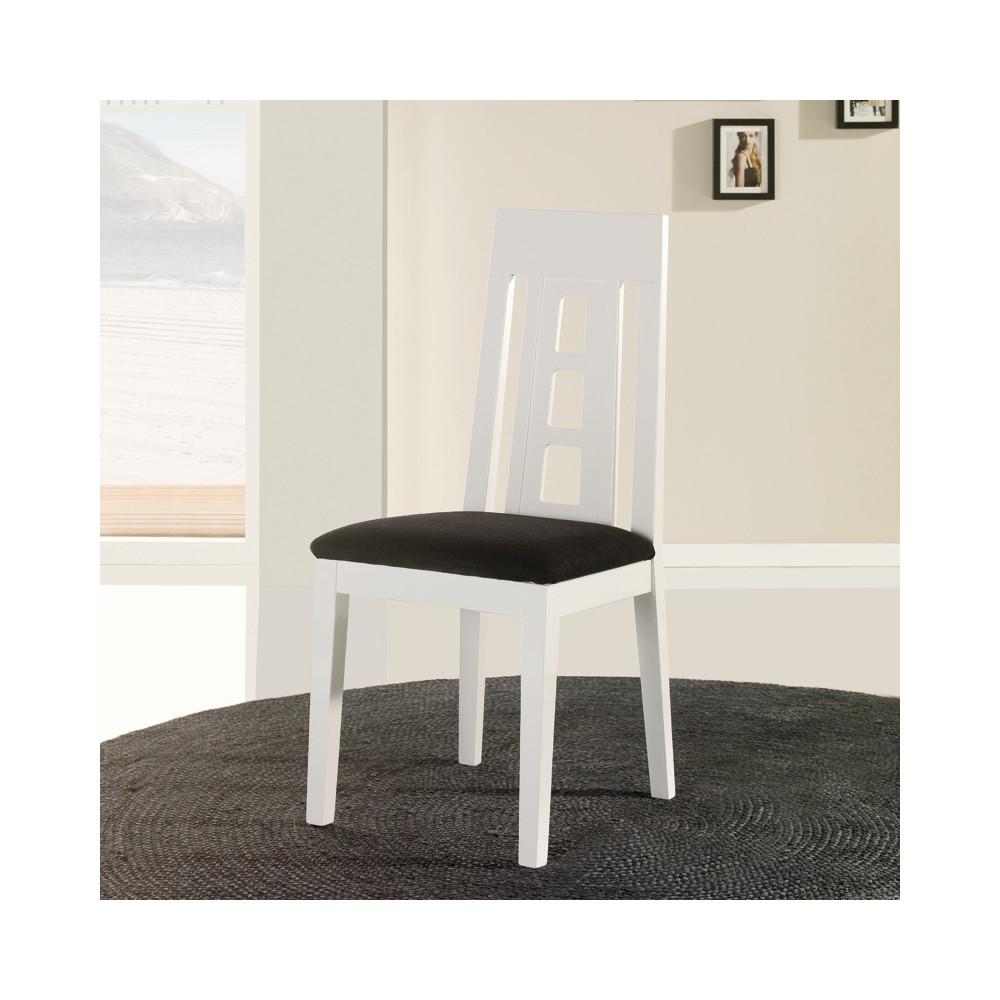 Chaise blanche assise microfibre n 2 mercure univers salle manger - Chaises en bois blanc ...