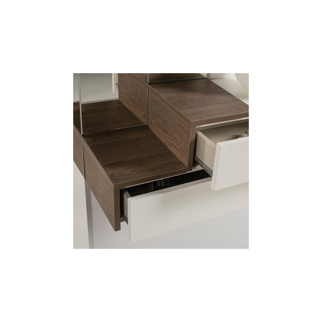 Meuble d 39 entr e blanc ch ne 2 tiroirs konor univers for Petit meuble tiroir blanc