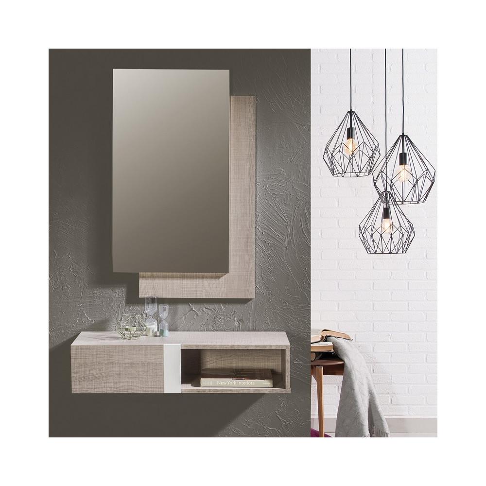Meuble d 39 entr e ch ne clair 2 tiroirs lako univers petits meubles - Recibidores modernos merkamueble ...