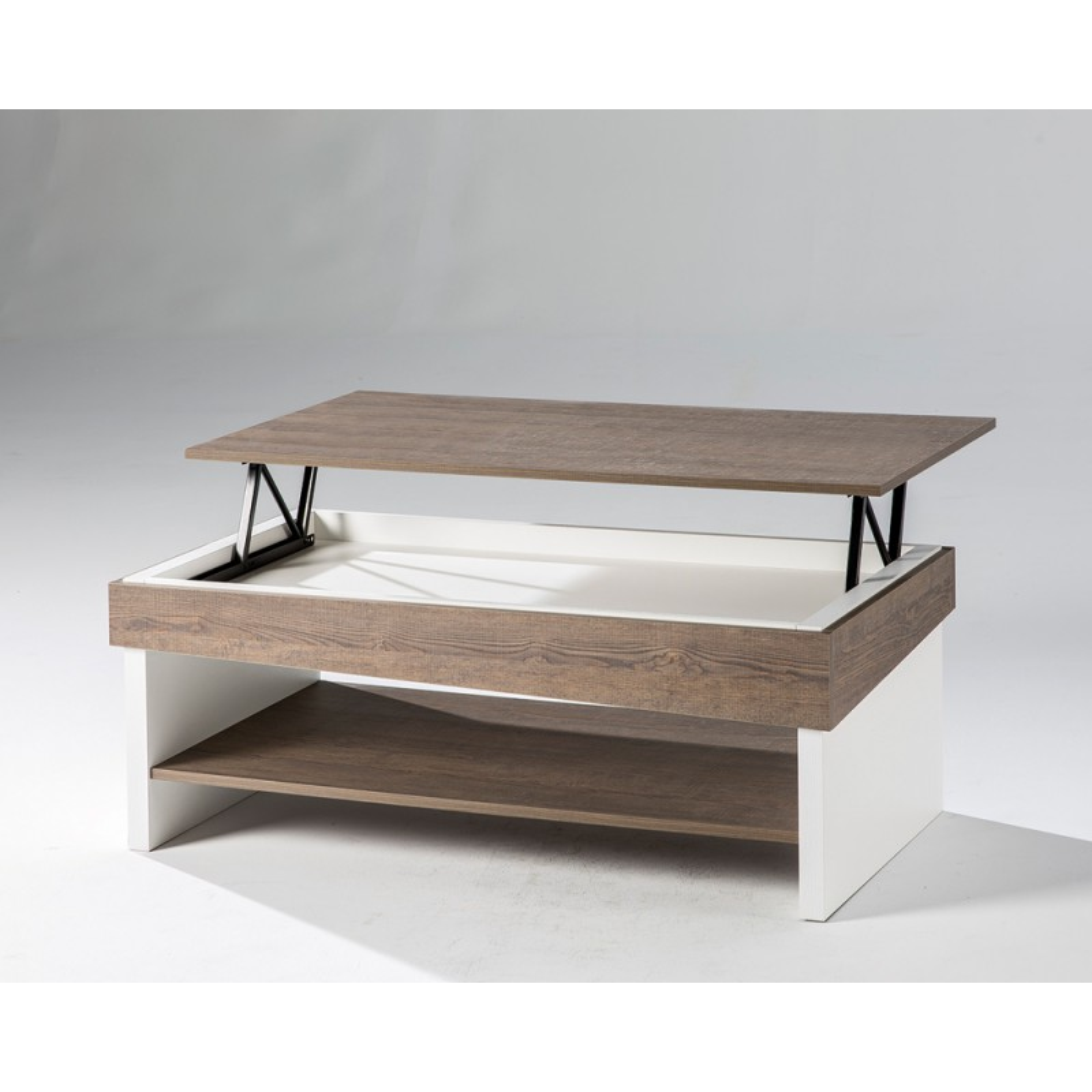 acheter en ligne c268b 929d5 Table basse relevable robuste Chêne foncé BERLIOSE - Univers ...