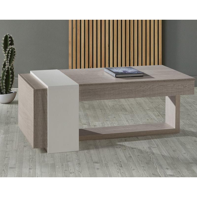 Table basse relevable 2 tiroirs Chêne clair/Blanc - ESTEBAN
