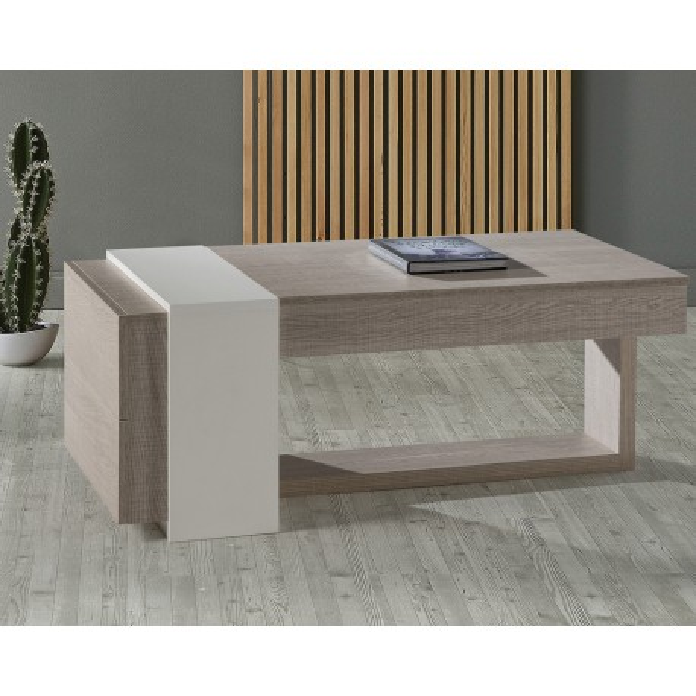 Table basse relevable chêne clair et blanc avec 2 tiroirs - MERLIN