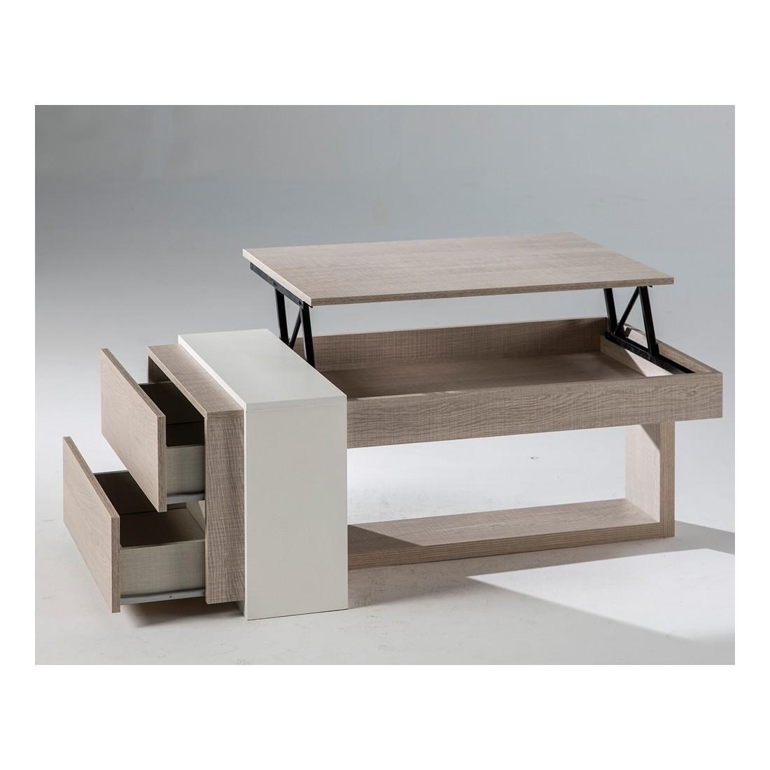table basse relevable ch ne clair 2 tiroirs esteban. Black Bedroom Furniture Sets. Home Design Ideas