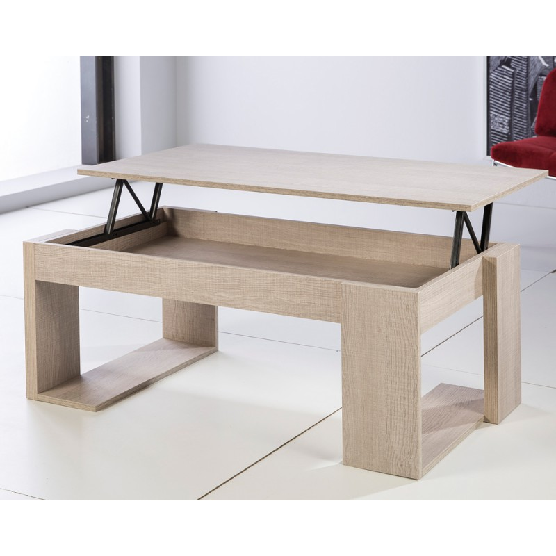 Table basse relevable moderne ch ne clair guizmo univers for Table basse en chene clair