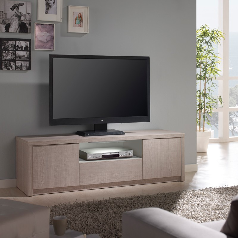 meuble tv ch ne clair n 1 clairage led 39 s honore univers du salon. Black Bedroom Furniture Sets. Home Design Ideas