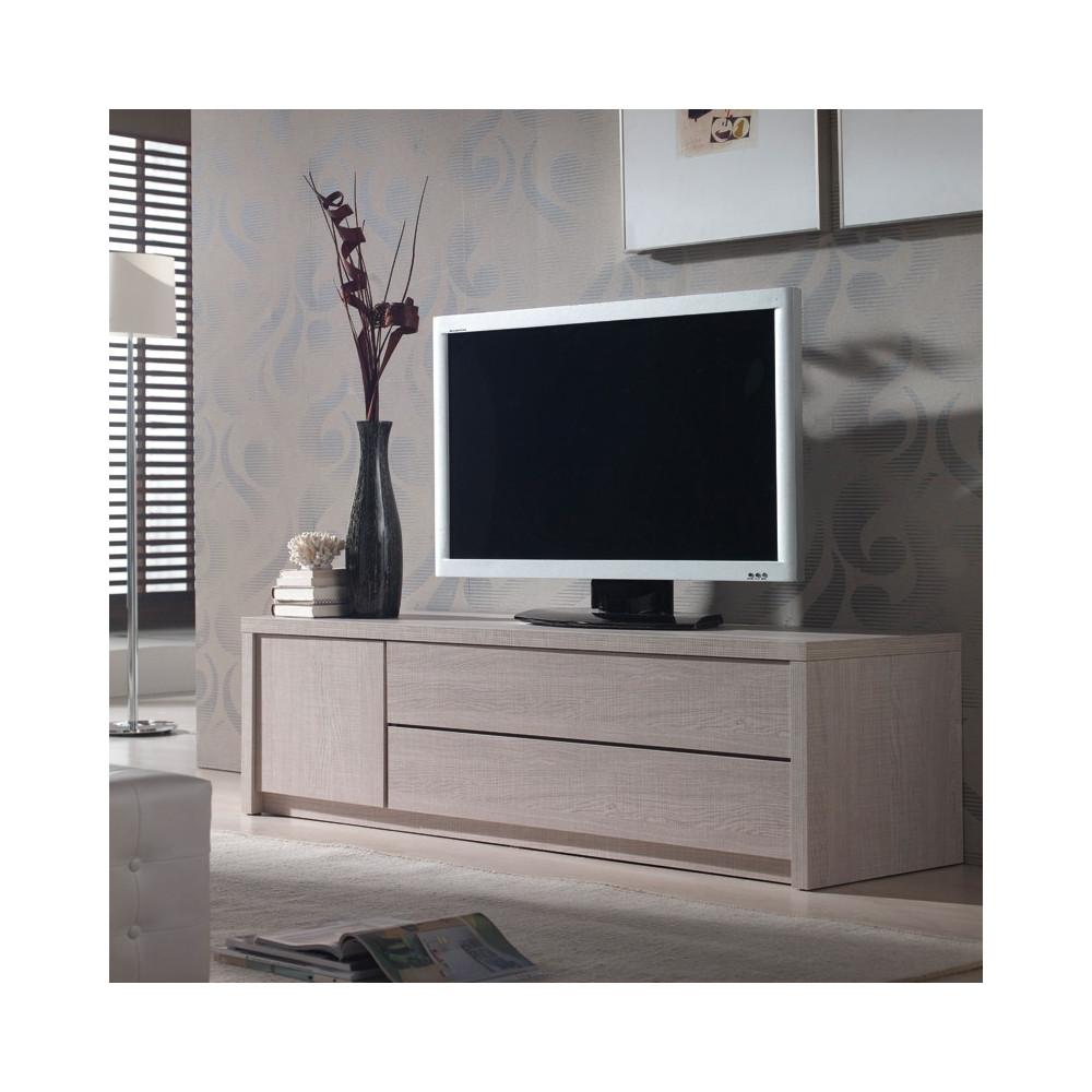 meuble tv moderne robuste ch ne clair n 2 honore univers du salon. Black Bedroom Furniture Sets. Home Design Ideas